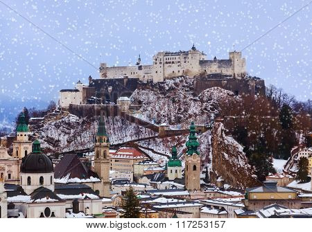 Salzburg Austria at winter - architecture background