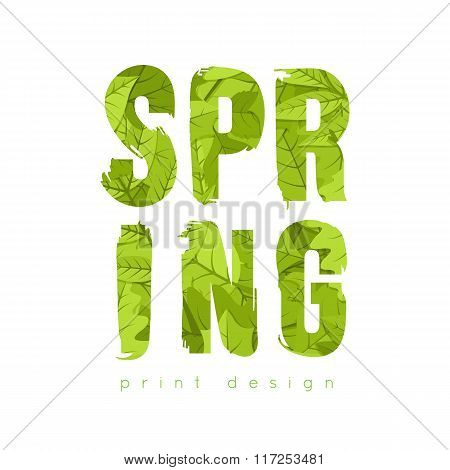 Spring green leaves text.