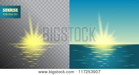 Sunrise Transparent Effect. Summer Holidays Vector Background.  Blue Sky And Sea Abstract Blurry Bac