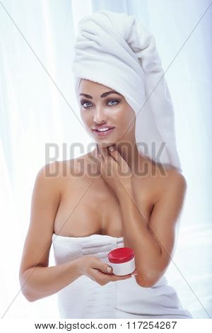 Beautiful Young Woman In White Towel.