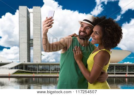 Couple taking a selfie photo in Brasilia, Brazil