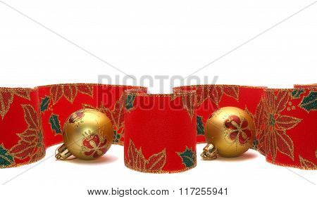 Colourful Christmas Ribbon And Balls Isolated On White