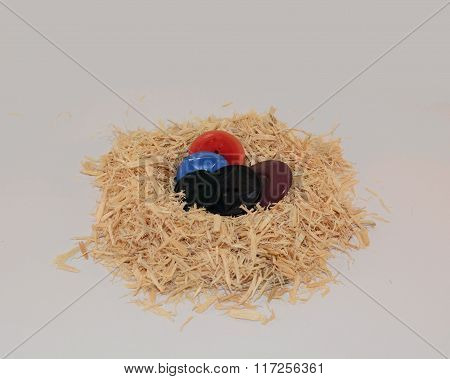Bedding Nest of Old Plastic Buttons