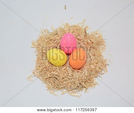 Trio of Glittered Easter Eggs in Nest