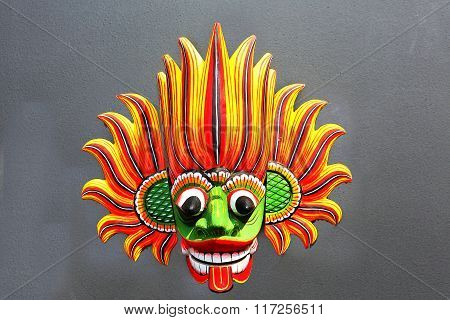 Fire Mask - Wooden Mask From Sri Lanka