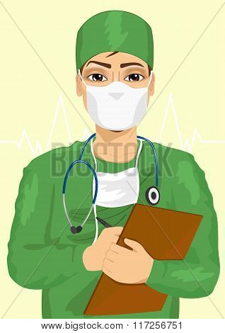 handsome male doctor or nurse in face mask taking notes