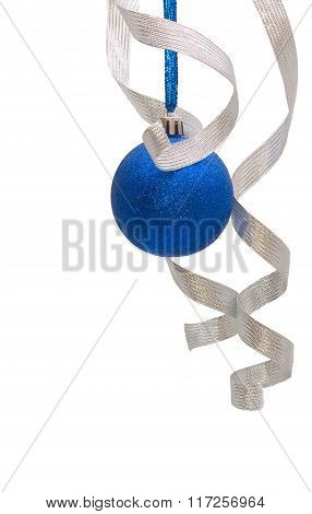 Blue Christmas Ball With Curly Silver Ribbon