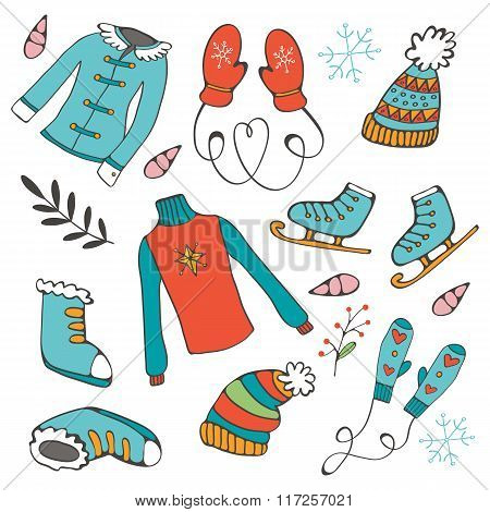Colorful hand drawn winter collection