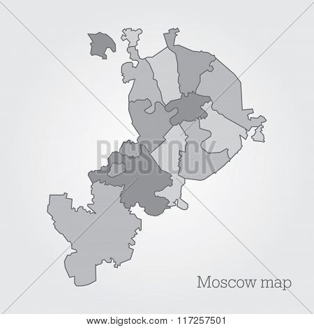 Moscow administrative map.