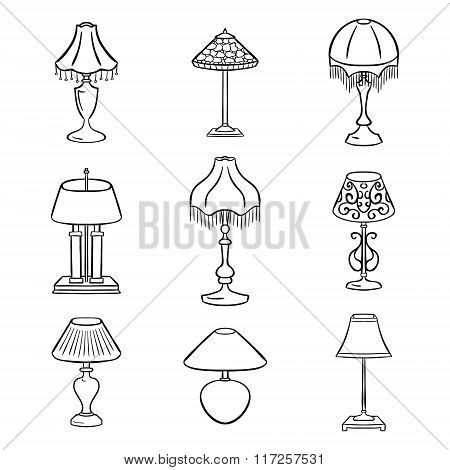 Set Of Sketched Table Lamps