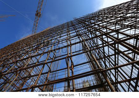Armature in the front of a blue sky at construction site