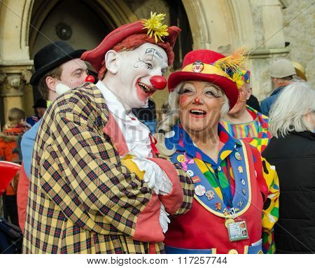 Clowns Joking At Annual Clown Service, Hackney, London
