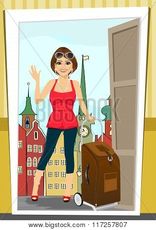 positive woman comes back home from vacation