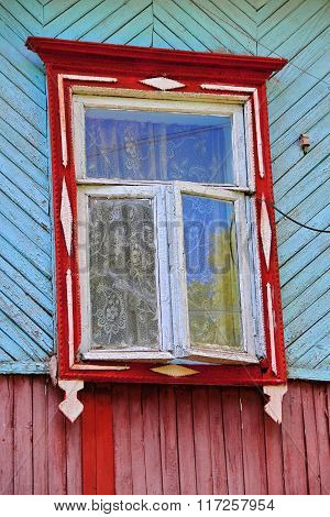 Closed Shutters Of Rustic Window On Rural Wooden House Wall