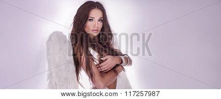 Sexy Brunette Angel Posing In Lingerie.