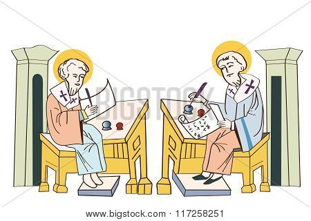 Saints Cyril And Methodius. Historical Illustrations. Isolated On White Background. Missionaries Of Charity. Missionaries Around The World. Missionaries. Saint Family Missionaries.