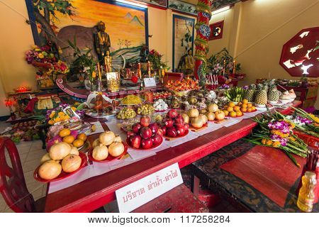 KOH CHANG, THAILAND - JAN 7, 2016: During the celebration Chinese New Year in the Chinese temple. 4714 year (traditional lunisolar Chinese calendar) begins February 8, characters: Monkey, fire, red.
