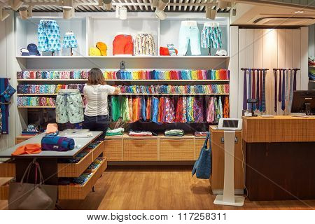 ROME, ITALY - AUGUST 16, 2015: store in Fiumicino Airport. Fiumicino - Leonardo da Vinci International Airport is a major international airport in Rome, Italy