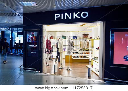 ROME, ITALY - AUGUST 16, 2015: interior of store at Fiumicino Airport. Fiumicino - Leonardo da Vinci International Airport is a major international airport in Rome, Italy