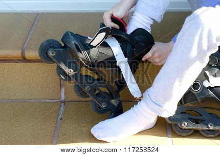 Putting On Roller Blades