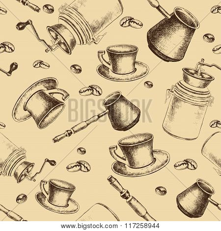 Seamless coffee pattern for design