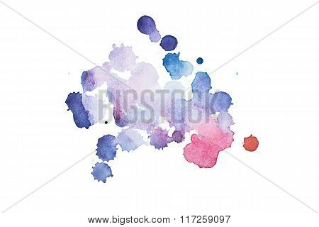 Watercolor, gouache paint. Blue Abstract stains splatter splashes with rough texture.