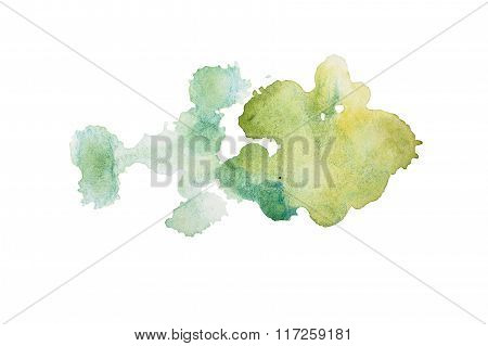 Abstract watercolor aquarelle hand drawn colorful green art paint splatter stain on white background
