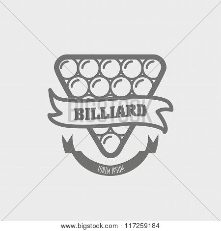 Vintage Billiard Label, Emblem And Logo, Can Be Used For Design Posters, Flyers Or Cards