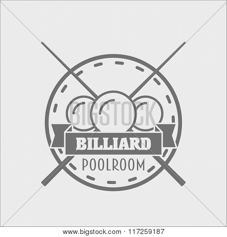Billiards And Snooker Sports Emblem, Logo Or Badge Design Concept With Balls, Cue And Text For Sport