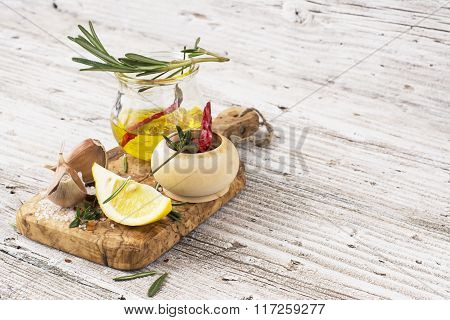 The ingredients for marinating meat before baking or grilled skewers