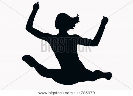 Sport Silhouette - Female Gymnast Performing Splits