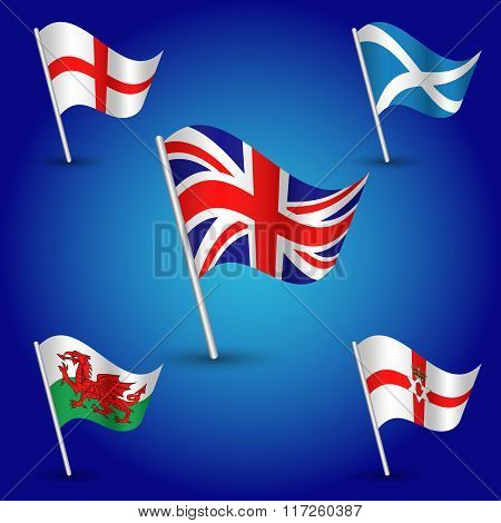 Vector Waving Simple Triangle Set Flags United Kingdom Of Great Britain