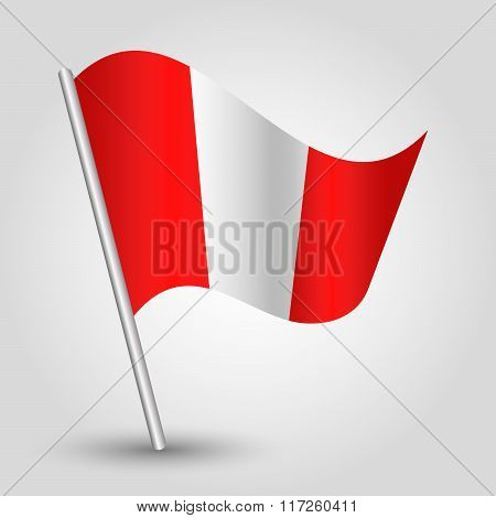 Vector Waving Simple Triangle Peruvian Flag On Slanted Pole Icon Of Peru Metal Stick