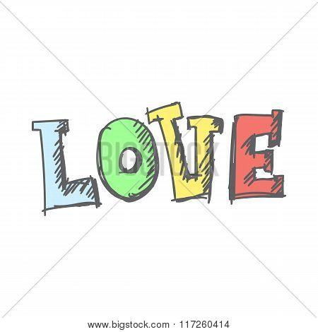 Valentine day background with word love