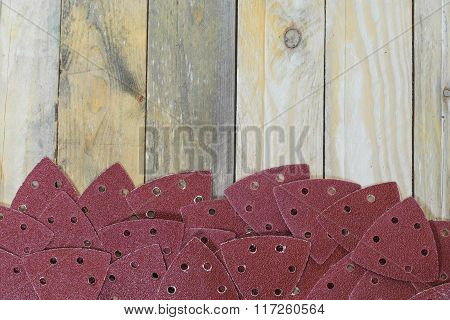 Triangle Sand Papers On Wooden Boards Placed Bottom