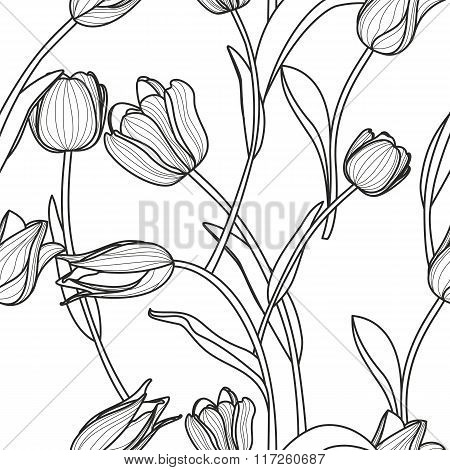 Vector Floral Seamless Pattern. Black And White Background With Outline Hand Drawn Tulip Flowers.