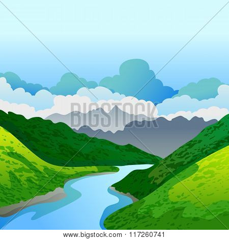 Vector Summer Or Spring Landscape. Panorama Of Green Mountains, And River.