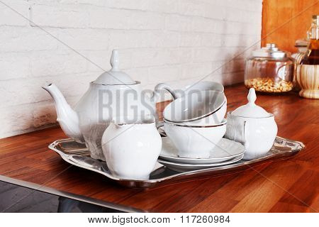 ware tea cup set metal service silver tray interior home kitchen a beautiful Provence style porcelai