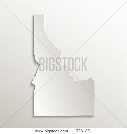 Idaho map card paper 3D natural raster