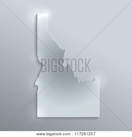 Idaho map glass card paper 3D raster