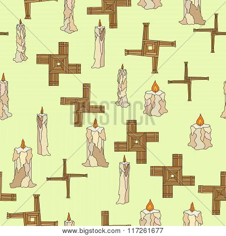 Vector Imbolc Seamless With Candles And Brigid Cross