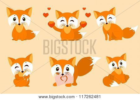 collection of cartoon cute baby fox