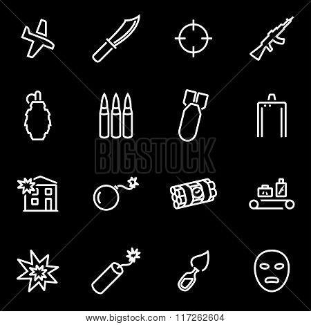 Vector Line Terrorism Icon Set
