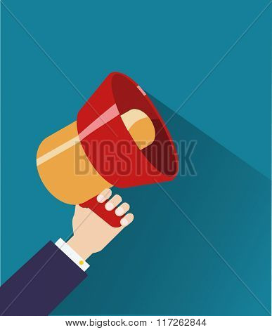 Hand holds a Loudspeaker. Flat vector illustration. Megaphone icon.