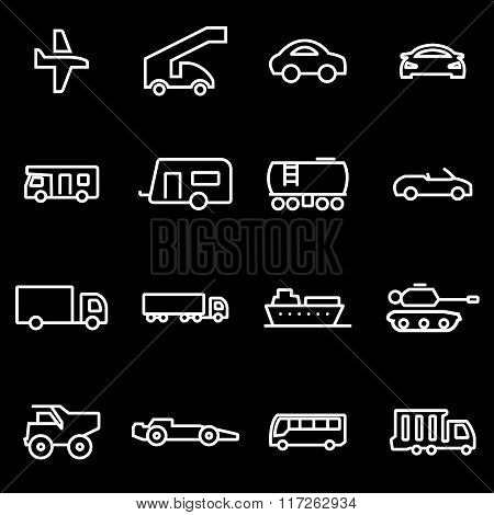 Vector Line Vehicles Icon Set