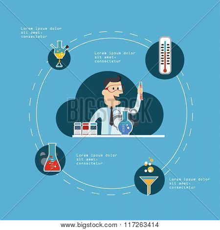 Medical Research in Laboratory Concept. Vector Illustration