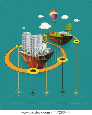 Flat design vector info graphic illustration  with urban landscape and camp.