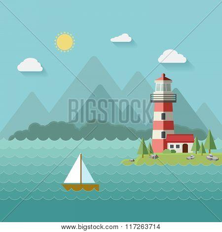 Lighthouse on beach, island, mountains background, yacht or ship