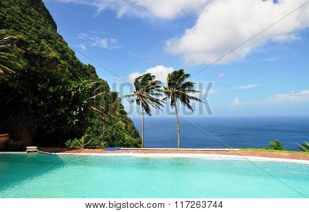 Mountain, Palm Trees And Pool