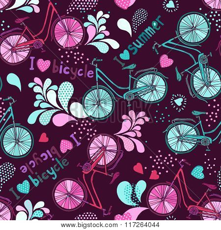 Funny Pattern With Bicycles And Text.eps